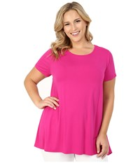Vince Camuto Plus Size Short Sleeve High Low Hem Top With Woven Back Pink Nectar Women's Blouse