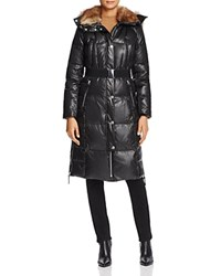Marc New York Liz Belted Faux Fur Puffer Coat Black