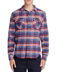 Superdry Milled Flannel Plaid Relaxed Fit Button Down Shirt Michigan Navy Check