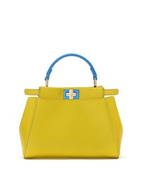 Fendi Peekaboo Mini Bicolor Satchel Bag Yellow Blue