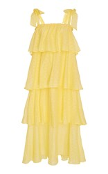 Mds Stripes Tiered Eyelet Dress Yellow