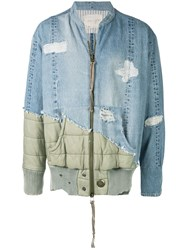 Greg Lauren Patchwork Denim Jacket Blue