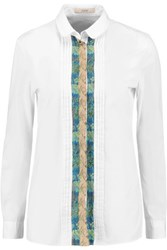 Etro Jacquard Trimmed Cotton Shirt White