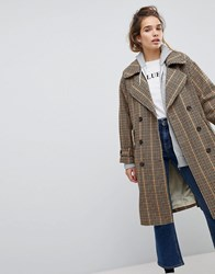 Pull And Bear Pullandbear Check Print Trench Mac Multi