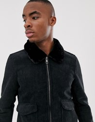 Pull And Bear Pullandbear Cord Jacket With Faux Fur Collar In Black