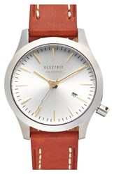 Electric Eyewear Electric Round Leather Strap Watch 40Mm Brown Silver
