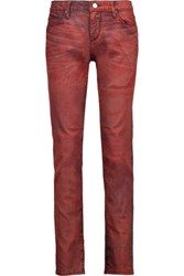 Rta Mid Rise Acid Wash Skinny Jeans Red