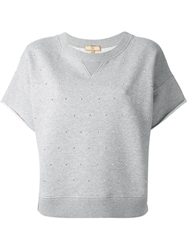 Fay Embellished Sweat Top Grey
