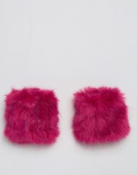 Asos Faux Fur Short Hot Pink Cuffs Hot Pink