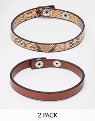 Asos Leather Bracelet Pack With Snake Print Brown