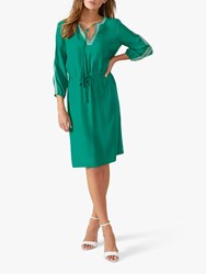 Pure Collection Open Tie Neck Dress Sage Green