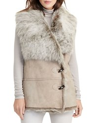Lauren Ralph Lauren Lamb Shearling And Suede Toggle Button Vest Brown