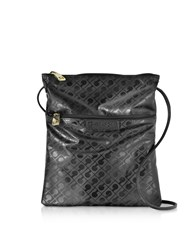 Gherardini Handbags Black Signature Coated Canvas And Leather Softy Crossbody Bag W Zip Front Pocket