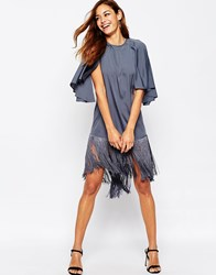 Asos Fringe T Shirt Midi Dress Blue