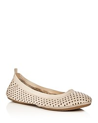 Yosi Samra Samara Star Perforated Foldable Ballet Flats Beige