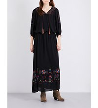 The Great Promenade Embroidered Gauze Maxi Dress Black With Multi