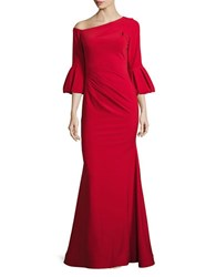 Betsy And Adam Bell Sleeve Mermaid Gown Red