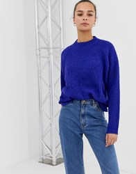 Minimum Moves By Round Neck Jumper Clematis Blue