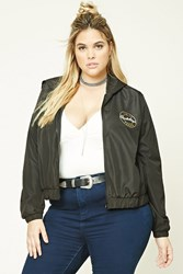 Forever 21 Plus Size Graphic Windbreaker Black Gold