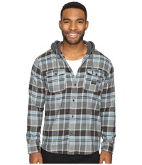 Quiksilver Fellow Player Hooded Woven Button Up Flannel Tarmac Men's Clothing Olive