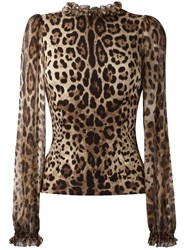 Dolce And Gabbana Leopard Print Blouse Brown