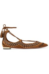 Aquazzura Christy Folk Embroidered Suede Point Toe Flats Tan