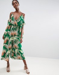 Asos Jumpsuit With Knot And Split Sleeve Detail In Tropical Print Multi