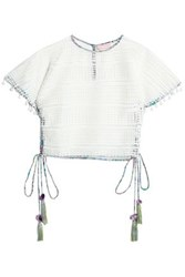 Matthew Williamson Lace Up Pompom Trimmed Guipure Lace Top Off White Off White