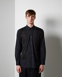 Comme Des Garcons Shirt Man Jacquarded Geometric Panels Shirt Black