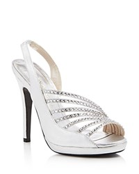 Caparros Addison Metallic Strappy Slingback Sandals Silver