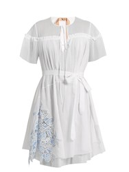 N 21 Lace Panel Cotton And Silk Blend Dress White