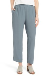 Eileen Fisher Women's Silk Georgette Crepe Straight Ankle Pants Blue Steel