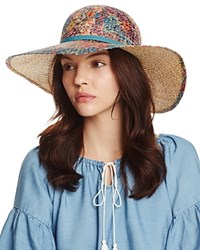 Bettina Floral Print Straw Floppy Sun Hat With Ribbon Trim Multi Blue