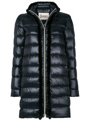 Herno Zipped Padded Coat Feather Down Mink Fur Polyamide Black