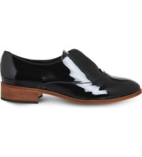 Office Flexi Elastic Detail Patent Leather Oxford Shoes Black Patent
