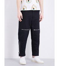 Stella Mccartney Cotton And Linen Mid Rise Trousers Black