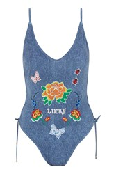 Jaded London Denim Lace Up Embroidered Swimsuit By Blue