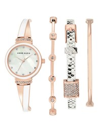 Anne Klein Two Tone Swarovski Crystal Studded Bangle Watch Set Rose Gold