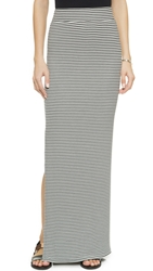 Atm Anthony Thomas Melillo Side Slit Maxi Skirt Black Snow Stripe Combo