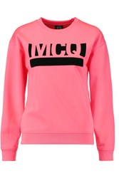 Mcq By Alexander Mcqueen Neon Velvet Appliqued Cotton Blend Jersey Sweatshirt Pink
