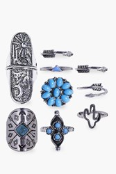 Boohoo Tilly Tribal Mixed Ring Pack Silver