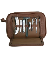 Royce Leather Toiletry Combo Grooming Set Brown