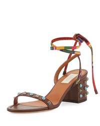Valentino Rockstud Rolling Ankle Wrap City Sandal Light Brown