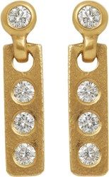 Linda Lee Johnson Women's Diamond And Gold Savannah Drop Earrings Colorl Colorless