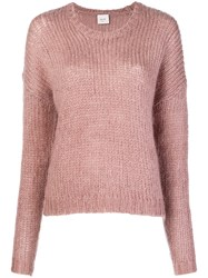 Alysi Fuzzy Sweater Pink And Purple