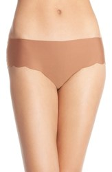 Women's Halogen 'No Show' Scalloped Hipster Briefs Brown Kona