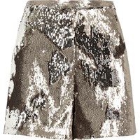 River Island Womens Silver Soft Sequin Shorts