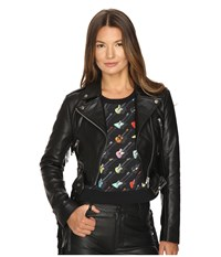 Jeremy Scott Studded Leather Moto Jacket Black