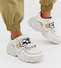 Bershka Chunky Trainers With Contrast Stitch In White