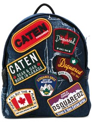 Dsquared2 Badge Patch Backpack Men Cotton Leather One Size Blue